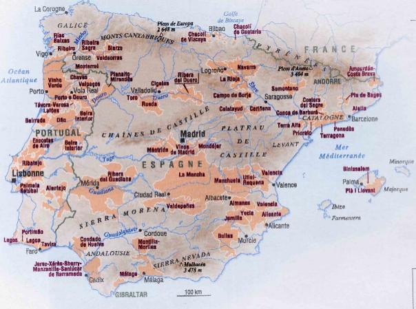 Carte Vin Espagne.Espagne